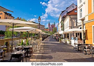 夏, プロムナード, riverfront, 通り道, ljubljana, 光景