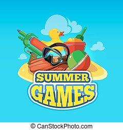 夏, ベクトル, ゲーム, イラスト, おもちゃ