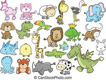 夏, ベクトル, セット, 動物, サファリ
