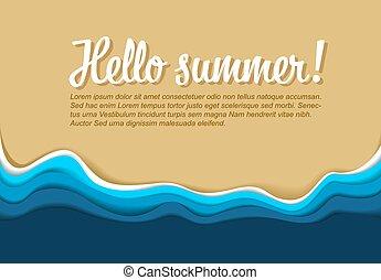 夏, ベクトル, テンプレート, ポスター