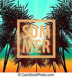 夏, ベクトル, パーティー, 背景, ポスター
