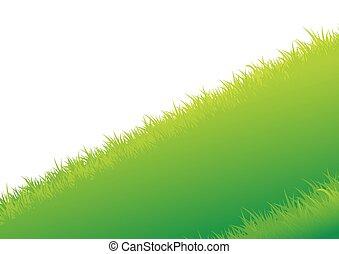 夏, ベクトル, 草, 背景, イラスト