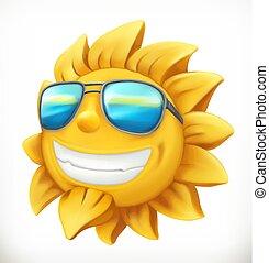 夏, ベクトル, sun., 楽しみ, 3d, アイコン