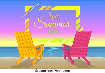夏, ポスター, フレーム, 日々, sunbeds, 暑い, 浜