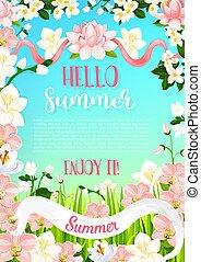 夏, ポスター, ベクトル, 花束, 花, 活気づきなさい