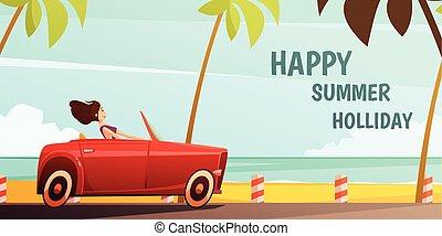 夏, ポスター, 休暇, レトロ, 自動車, 休日