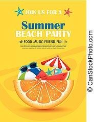 夏, ポスター, 休暇, 要素, バックグラウンド。, ベクトル, 招待, パーティー, 浜