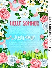 夏, ポスター, 挨拶, ベクトル, 花, こんにちは