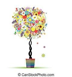 夏, ポット, 木, デザイン, 花, あなたの