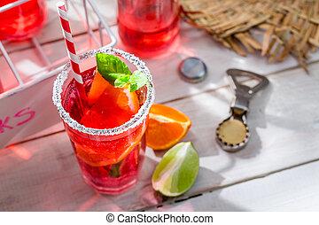 夏, ミント, 飲みなさい, 葉, 寒い