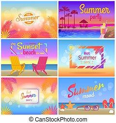夏, ムード, 暑い, ポスター, パーティー, 浜, 風景