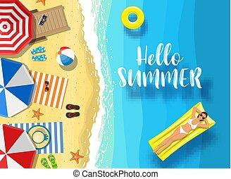 夏, メッセージ, 海洋, こんにちは, バックグラウンド。