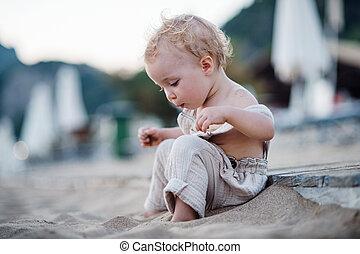 夏, モデル, holiday., 小さい, 女の子, よちよち歩きの子, 浜
