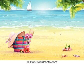 夏, ヨット, に対して, 袋, 砂, イラスト, 海, 白い浜