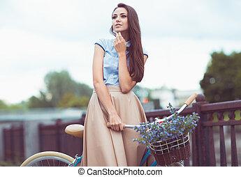 夏, ライフスタイル, 服を着せられる, 若い女性, elegantly, 美しい