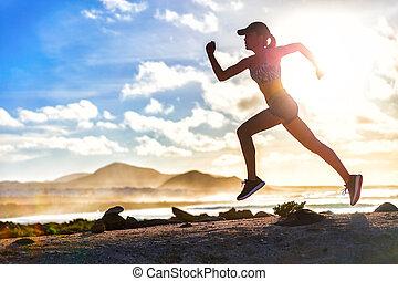 夏, ランナー, 運動選手, 小道ラニング, 浜