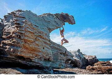 夏, リモート, 沿岸である, rockshelfs, 探検