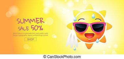 夏, レイアウト, 旗, カード, 顔, 太陽, 漫画, カバー, セール, イラスト, ベクトル, テンプレート, 本, デザイン, 挨拶