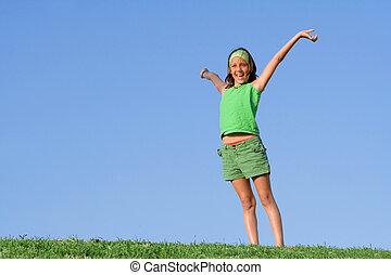 夏, 上げられた, 健康, 腕, 屋外で, 子供, 幸せ