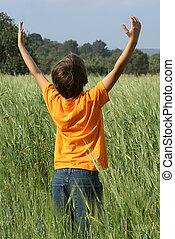 夏, 上げられた, 太陽, 空, 腕, 子供, 幸せ