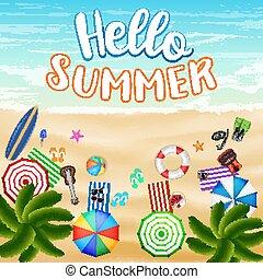 夏, 上, トロピカル, 砂の 海, 浜, 光景