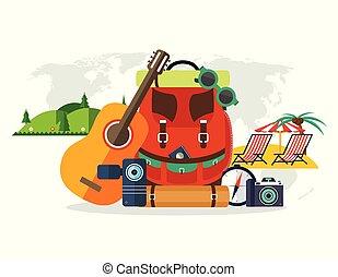 夏, 世界, サングラス, キャンプ, 山, vacation., 写真, 休暇, 残り, 装置, 地図, ビデオカメラ, 背景, ギター, コンパス, 浜, バックパック, 旅行