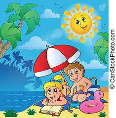 夏, 主題, 浜, 子供