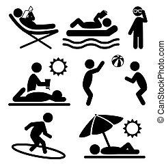 夏, 人々, アイコン, 隔離された, 平ら, pictograms, 白