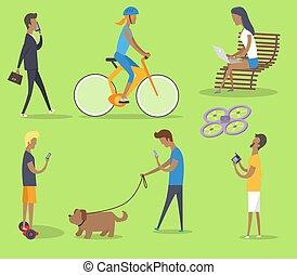 夏, 人々, 出費, ポスター, 公園, 自由な 時間
