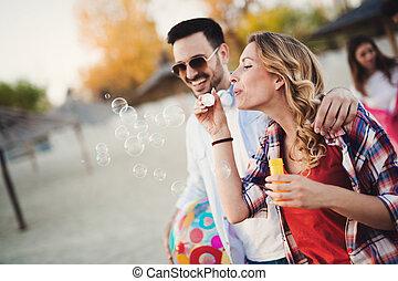 夏, 人々, 若い, 楽しみ, 浜, 持つこと