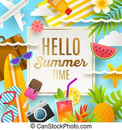 夏 休暇, そして, ホリデー, イラスト