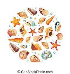 夏 休暇, ラウンド, 形, ベクトル, 貝殻, パターン, イラスト, seamless, 要素, デザイン