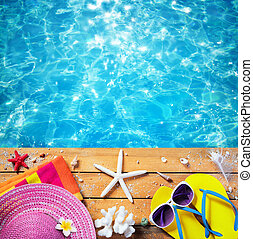 夏, -, 休暇, 付属品, 背景, 浜, プール