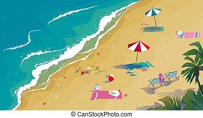 夏 休暇, 砂, トロピカル, 海, ビュー。, 浜, 上