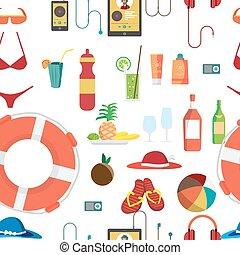 夏, 使われた, 小道具, 食物, パターン, 飲料, seamless, サングラス, 水着, holidays., ベクトル, 帽子, 項目, objects., 浜, 他
