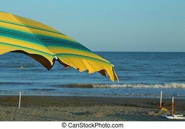 夏, 傘, 日当たりが良い, 黄色緑, 浜