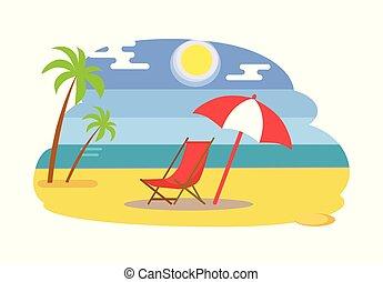夏, 傘, 海, 下に, 浜, リクライニング・チェア