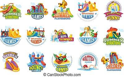 夏, 催し物, アクア色の公園, labels., 水, 運動場