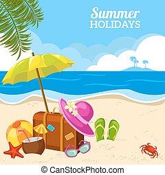 夏, 光景, 海岸, 浜, ポスター