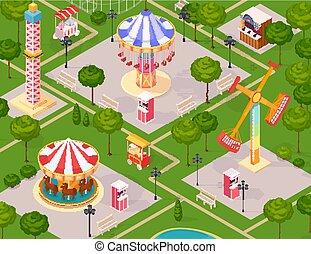 夏, 公園, 子供, 娯楽