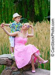 夏, 公園, 息子, 母親遊び, 情事