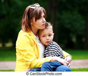 夏, 公園, 悲しい, 緑, 母, 息子