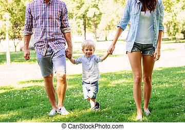 夏, 公園, 歩きなさい, 親, 息子, 持つこと