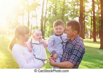 夏, 公園, 若い, 歩きなさい, 親, 子供