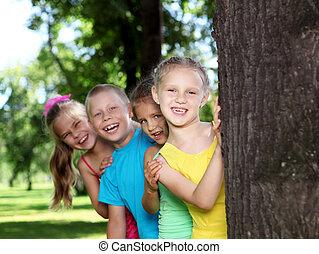 夏, 公園, 遊び, 子供