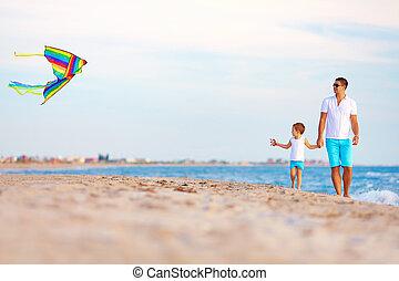 夏, 凧, 父, 息子, 浜, 遊び, 幸せ