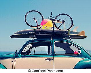夏, 型, 休暇, 休日, 旅行, 道