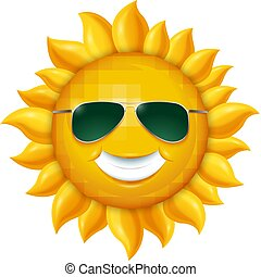 夏, 太陽, 隔離された, イラスト, sunglasses., ベクトル, 背景, 微笑, 白