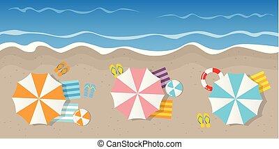 夏, 失敗, 休日, 観光客, 平面図, とんぼ返り, ボール, パラソル, 浜, lifebelt