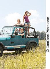 夏, 女の子, 旅行, 自動車, 持つこと